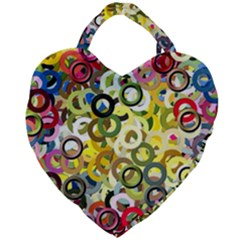 Pattern Background Abstract Color Giant Heart Shaped Tote