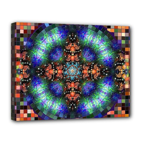 Mosaic Kaleidoscope Form Pattern Canvas 14  X 11  (stretched)