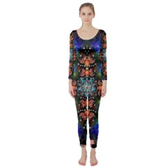 Mosaic Kaleidoscope Form Pattern Long Sleeve Catsuit by Pakrebo