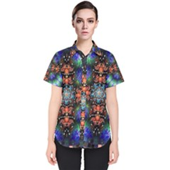 Mosaic Kaleidoscope Form Pattern Women s Short Sleeve Shirt