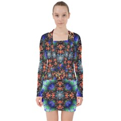 Mosaic Kaleidoscope Form Pattern V Neck Bodycon Long Sleeve Dress