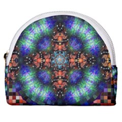 Mosaic Kaleidoscope Form Pattern Horseshoe Style Canvas Pouch