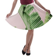 Banana Leaf A Line Skater Skirt by goljakoff