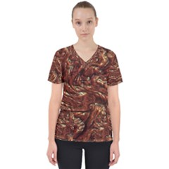 Background Structure Surface Women s V Neck Scrub Top