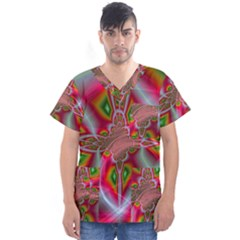 Fractal Art Pictures Digital Art Men s V Neck Scrub Top
