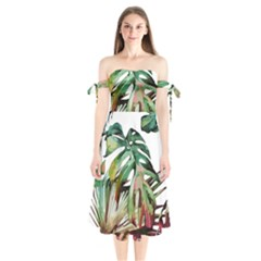 Tropical Leaves Shoulder Tie Bardot Midi Dress by goljakoff