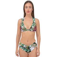 Tropical Leaves Double Strap Halter Bikini Set by goljakoff