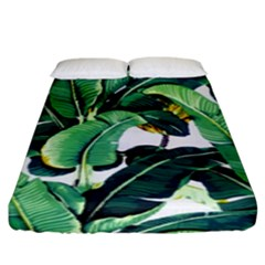 Tropical Banana Leaves Fitted Sheet (king Size) by goljakoff