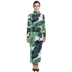 Tropical Banana Leaves Turtleneck Maxi Dress by goljakoff