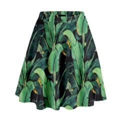 Night Tropical Leaves High Waist Skirt by goljakoff