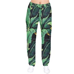 Night Tropical Leaves Velvet Drawstring Pants by goljakoff