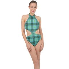 Background Pattern Structure Halter Side Cut Swimsuit