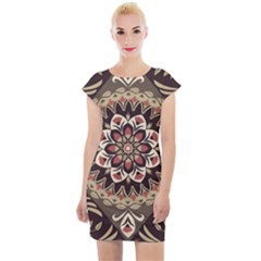 Seamless Pattern Floral Flower Cap Sleeve Bodycon Dress