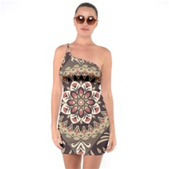 Seamless Pattern Floral Flower One Soulder Bodycon Dress
