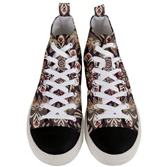 Seamless Pattern Floral Flower Men s Mid Top Canvas Sneakers