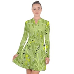 Seamless Pattern Green Garden Long Sleeve Panel Dress
