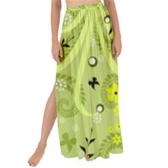 Seamless Pattern Green Garden Maxi Chiffon Tie Up Sarong by Pakrebo