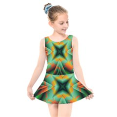 Farbenpracht Kaleidoscope Kids  Skater Dress Swimsuit by Pakrebo