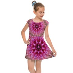 Flower Mandala Art Pink Abstract Kids  Cap Sleeve Dress