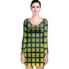 Tile Background Image Pattern Squares Long Sleeve Bodycon Dress