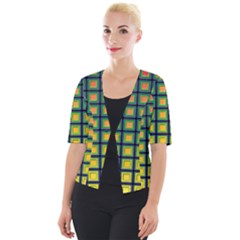 Tile Background Image Pattern Squares Cropped Button Cardigan