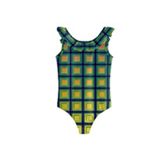 Tile Background Image Pattern Squares Kids  Frill Swimsuit