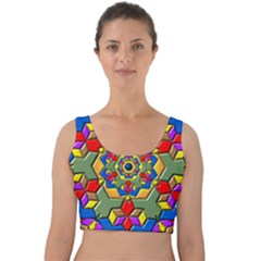 Background Image Pattern Velvet Crop Top