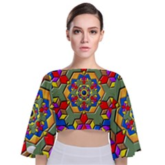 Background Image Pattern Tie Back Butterfly Sleeve Chiffon Top