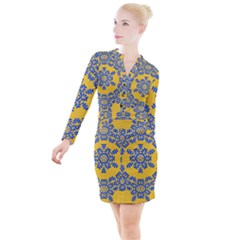 Background Image Decorative Button Long Sleeve Dress by Pakrebo