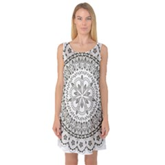 Vector Mandala Drawing Decoration Sleeveless Satin Nightdress