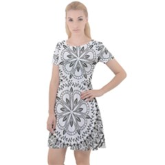 Vector Mandala Drawing Decoration Cap Sleeve Velour Dress
