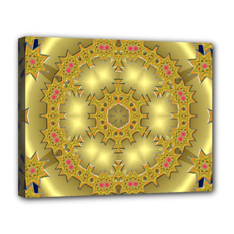 Pattern Background Gold Golden Canvas 14  X 11  (stretched)