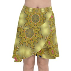 Pattern Background Gold Golden Chiffon Wrap Front Skirt