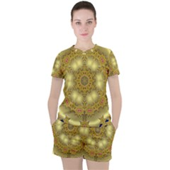 Pattern Background Gold Golden Women s Tee And Shorts Set