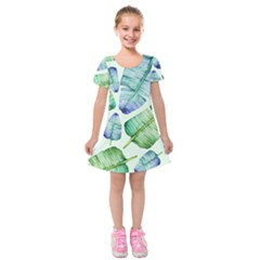 Fancy Tropical Pattern Kids  Short Sleeve Velvet Dress by tarastyle