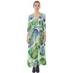 Fancy Tropical Pattern Button Up Boho Maxi Dress
