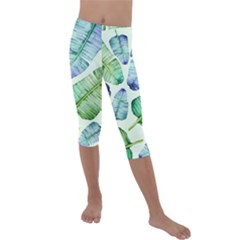 Fancy Tropical Pattern Kids  Lightweight Velour Capri Leggings  by tarastyle
