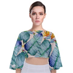 Fancy Tropical Pattern Tie Back Butterfly Sleeve Chiffon Top by tarastyle