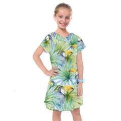 Fancy Tropical Pattern Kids  Drop Waist Dress