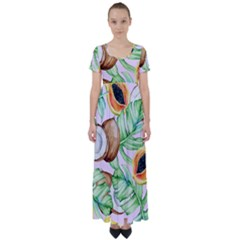 Fancy Tropical Pattern High Waist Short Sleeve Maxi Dress