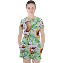 Fancy Tropical Pattern Women s Tee And Shorts Set by tarastyle
