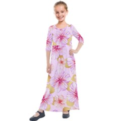 Fancy Tropical Pattern Kids  Quarter Sleeve Maxi Dress by tarastyle
