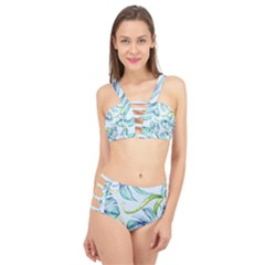 Fancy Tropical Pattern Cage Up Bikini Set by tarastyle