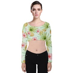 Fancy Tropical Pattern Velvet Long Sleeve Crop Top by tarastyle