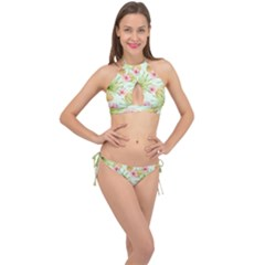 Fancy Tropical Pattern Cross Front Halter Bikini Set by tarastyle