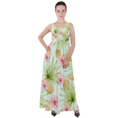 Fancy Tropical Pattern Empire Waist Velour Maxi Dress by tarastyle