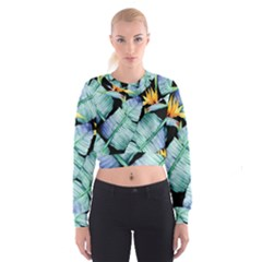 Fancy Tropical Pattern Cropped Sweatshirt by tarastyle