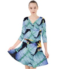 Fancy Tropical Pattern Quarter Sleeve Front Wrap Dress by tarastyle