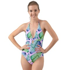Fancy Tropical Pattern Halter Cut Out One Piece Swimsuit by tarastyle