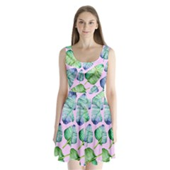 Fancy Tropical Pattern Split Back Mini Dress  by tarastyle